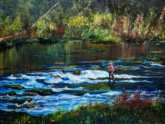 Fly fishing paint in oil trout stream painting by JulieERogersArt
