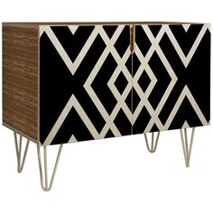 Dot & Bo White Diamonds Credenza ($699) ❤ liked on Polyvore featuring home, furniture, storage & shelves, sideboards, storage credenza, storage buffet, colorful furniture, black and white furniture and storage furniture