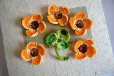 Crochet flowers 3d appliques scrapbooking by FlowersbyIrene