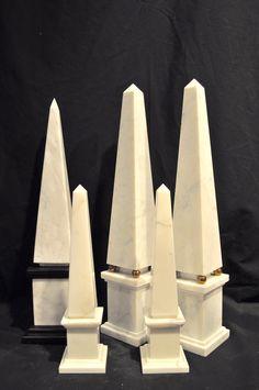 Collection of white marble obelisks - so chic! OnlyObelisks.com