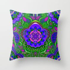 Boho Fantasy Pattern Green and Blue Throw Pillow