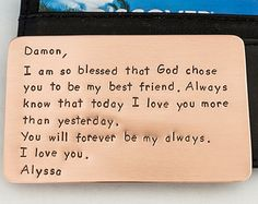 Wallet Insert Card - Copper Credit Card - Personalized Note - Just for Him - Hand Stamped Metal - Husband Boyfriend Anniversary