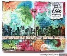 Art journal page by Autumn Clark using Darkroom Door Art Studio Border Stamp