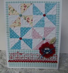 hand crafted Quilt card ... pinwhells ... use a square punch and cut diagonally across for perfect fit pieces ...
