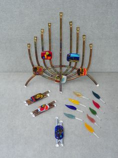 $265.00 Menorah and   58.00 Mezuzah ...JUDAICA Glass and Copper sculptures by Terry Andrews from WatersEdgeStudios Ocala FL  Photo By JS Petralito 8/2012