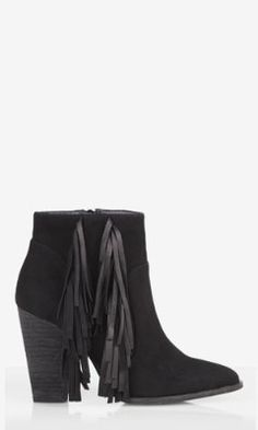 SUEDE FRINGED RUNWAY BOOTIE from EXPRESS