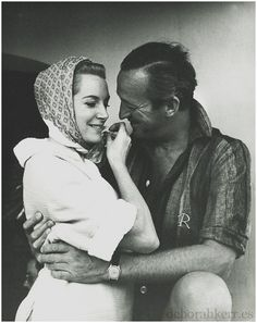 Lovely picture of Deborah Kerr and David Niven. I look back and think of all the films I have seen them in and here they are smiling and so natural, lovely.