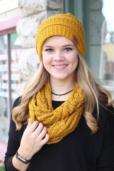 CC infinity scarf with speckled print accent. Mustard. CC Beanie exclusive.