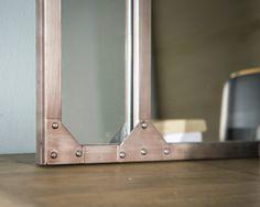 Miroir atelier m�tal rect. brut patin� ou noir decoclico Factory