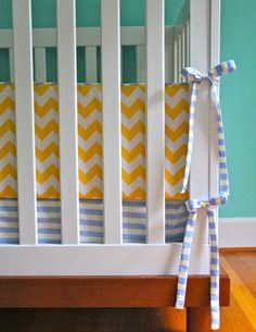 chevron bumper and striped sheet (choose your fabrics). $200.00, via Etsy.