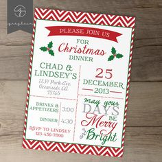 Christmas Invitations / Christmas Dinner Party Invites/ red and green / red chevron. May your days be Merry and Bright. by greylein
