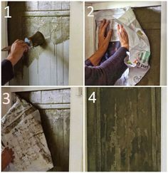 Annie Sloan painting using a frottage technique done on a door in a French farmhouse. This easy to do technique can create a vintage and worn look when using Chalk Paint®.How to get the antique look with Annie Sloan paint Annie Sloan frottage Achica Using Chalk Paint, Chalk Paint Colors, Furniture Makeover, Diy Furniture, Dresser Makeovers, Antique Furniture, Furniture Design, Bedroom Furniture, Annie Sloan Farbe