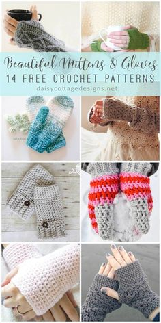 Roundup: 14 free crochet patterns for mittens and gloves via Daisy Cottage Designs | Use these crochet patterns to make a set of fingerless gloves or mittens. These free crochet patterns will have your fingers nice and toasty in no time!