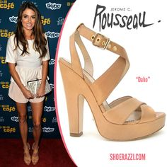 "Nikki Reed in Jerome C. Rousseau ""Daho"" Tan Leather Platform Sandals"