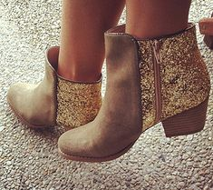 Dressy boots....I love....I want :)    gold & glitter by the style files, via Flickr