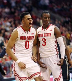 Freshman guard D'Angelo Russell and senior guard Shannon Scott react during a game against Purdue at the Schottenstein Center on March OSU won, Credit: Mark Batke / Photo editor Ohio State Game, Ohio State University, Ohio State Basketball, Basketball Teams, Georgia Bulldogs, Buckeyes, Freshman, Photo Editor, Things That Bounce