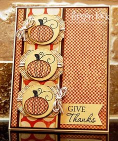 I have this pumpkin stamp.  I NEVER thought of stamping on patterned paper--they are soooo cute!