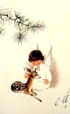 Vintage Christmas Card-- angel & baby deer