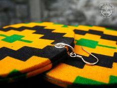 Large Black Green and Yellow Kente Earrings by manakahandmade, £20.00