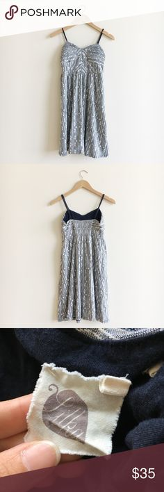 Anthropologie Lilka Aztec Print Navy Mini Dress Edgy and bohemian style aztec print mini dress in white and grey/navy. Great for Summer season weekend day out.  Pre-owned   In good condition Anthropologie Dresses Mini