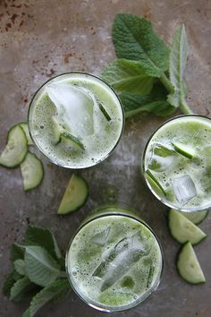 Cucumber Mint Gin Coolers - with tonic water. Refreshing and delicious