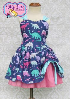 Girls Dinosaur Jurassic Birthday Party Pageant Outfit Tomboy Dress by SillyFaceBoutique on Etsy https://www.etsy.com/listing/535589523/girls-dinosaur-jurassic-birthday-party