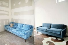 A before & after of this great mid-century modern sofa & our showroom!