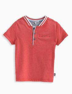 Classic Little Boy's Pocket Henley tee with a sporty twist! 	Bright fire truck red color 	Varsity jacket inspired striped collar 	Three button henley with mesh detail 	Short sleeves 	Front chest welt pocket