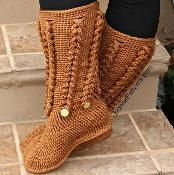 Knit-Look Braid Stitch Long Boots(Adult) - via @Craftsy