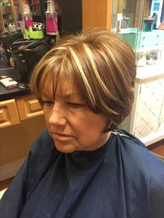 Short brown hair with highlights