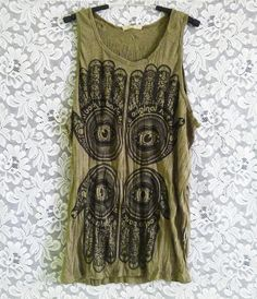 Hamsa tank top faithful print olive green sleeveless tank handprint art wrinkled t shirt size M L XL teen women men outfit Outfits For Teens, Cute Outfits, Fashion Beauty, Womens Fashion, Female Fashion, 2016 Fashion Trends, Racerback Tank Top, Handprint Art, Plus Size