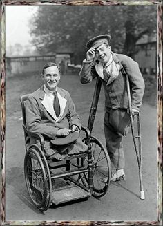 "Two UK cheery amputees of WW1 smile for the camera. Posed photos like this populated many publications in the immediate postwar years to underline the government's supposed rehabilitation efforts. Little mentioned though, was the fact that those who survived their wounds received no pension, except for ""very limited, special cases.""  Otherwise, they were on their own ..."