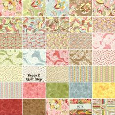 32 5 inch POSH fabric squares Moda CHEZ MOI kit 1928