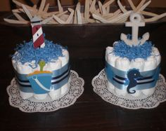 Nautical Beach Themed Diaper Cake by bearbottomdiapercakes on Etsy