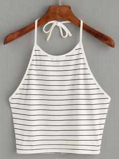 White Halter Striped Cami Top