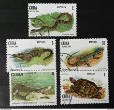 RARE SET LOT 1982 CUBA 1+2+3+5+30 CORREOS ANIMAL STAMP TIMBRE - Cuba