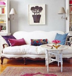 via SF Girl By the Bay, love the lavender-gray walls, as well as the use of white + pops of color