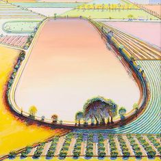 """Wayne Thiebaud, """"Reservoir and Orchard,"""" 2001, oil on canvas, 40 x 40 inches (101.6 x 101.6 cm), Collection of Wayne and Betty Jean Thiebaud. Art (c) Wayne Thiebaud / Licensed by VAGA, New York, NY Image"""
