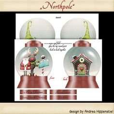Snowglobe Card northpole on Craftsuprint designed by Andrea Hippenstiel - this kit contains 2 sheets to make this snowglobe card.sentiments let it snow, it's cold outside,merry christmas, greeting from the northpole - Now available for download!