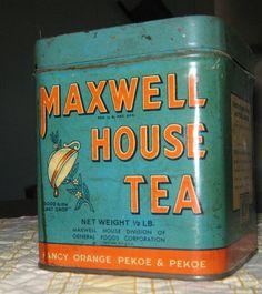 Vintage Maxwell House Tea Tin Original | eBay Vintage Tins, Vintage Coffee, Vintage Stuff, Maxwell House Coffee, Yogurt Smoothies, Tea Tins, Tea Art, My Cup Of Tea, Drinking Tea