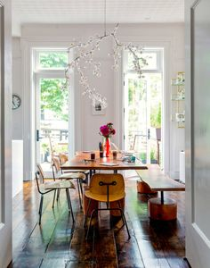 white + bright with rustic floorboards