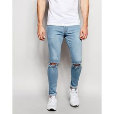 Hoxton Denim Light Blue Skinny Knee Slits Spray On Jean ($77) ❤ liked on Polyvore featuring men's fashion, men's clothing, men's jeans and blue