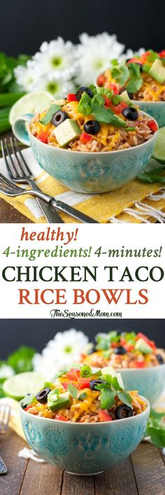 Healthy 4-Ingredient 4-Minute Chicken Taco Rice Bowls! Dinner Recipes   Dinner Ideas   Dinner   Dinner Recipes Easy   Lunch Ideas