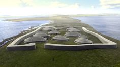 "Ness of Brodgar reconstruction.........First discovered in 2002, the waterside site—called the Ness of Brodgar (""Brodgar promontory"")—lies on Mainland, the largest of Scotland's Orkney Islands. According to recent radiocarbon dating of burned-wood remains, the Ness was first occupied around 3200 B.C. and went on to include up to a hundred buildings within a monumental walled enclosure."