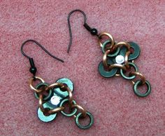 Upcycled Cycle Cross Earrings by SnazzyTrinkets on Etsy,