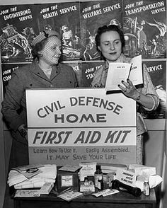 WW2 Civil Defense Home First Aid Kit. #homefront #1940s #WW2