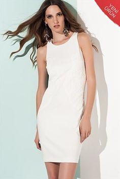 Milla by trendyol - Ekru Kabartmalı Elbise MLWSS1376049 %42 indirimle 69,99TL ile Trendyol da