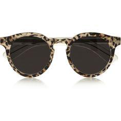 Illesteva Leonard 2 leopard-print round-frame acetate sunglasses found on Polyvore