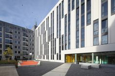 Completed in 2015 in Den Haag, The Netherlands. Images by Bart van Hoek. The Student Hotel The Hague is located in a former nursing home. 306 rooms for students are realized in the Van Limburg Stirum House near the train. Office Building Architecture, Building Facade, Facade Architecture, Mall Facade, The Hague, City Living, Multi Story Building, Student, Gallery