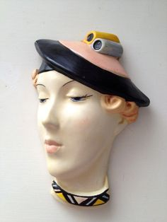 Art Deco, Art Deco Einfluss Gipsmaske Gesicht Wand, Wand-Plakette,